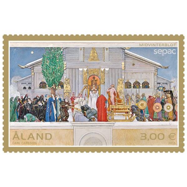 奥兰群岛2015年sepac联合发行邮票:名画《仲冬牺牲》(大图展示)