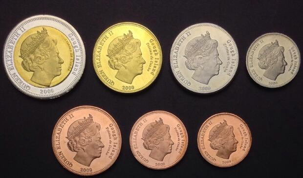 高夫岛硬币7枚(0.5-25便士)大全套 精美动物套币(大图展示)