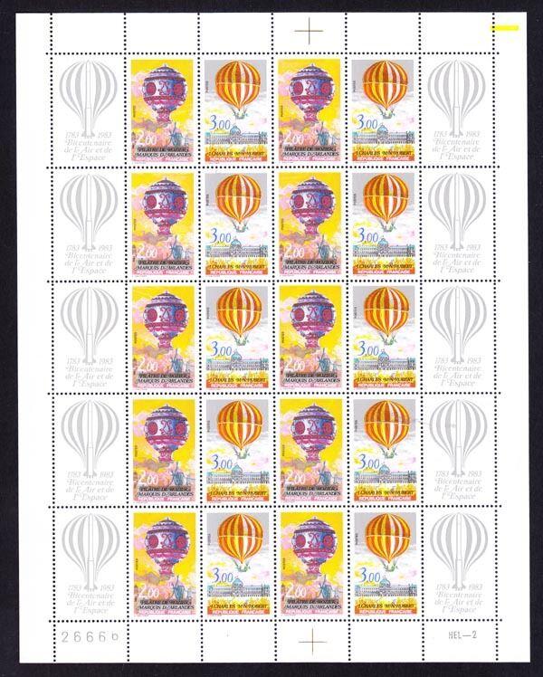 法国邮票 1983年载人热气球飞行200周年版张