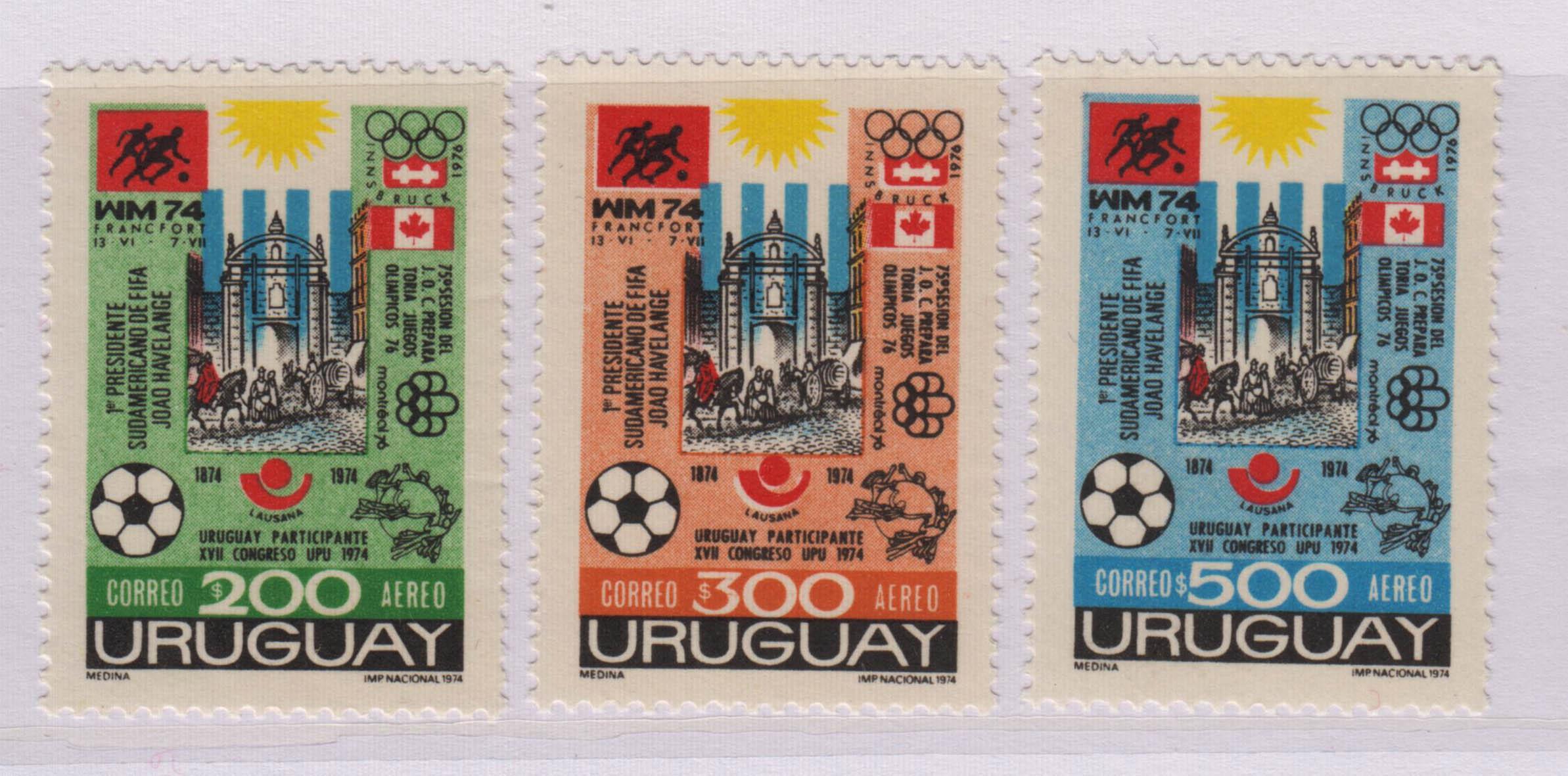 乌拉圭 1974年 世界杯足球赛 3全,MNH,Uru10