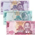 马拉维纸币3枚一套