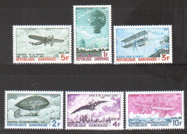 加蓬1973年发行飞行历史邮票热气球飞艇飞机雕刻版