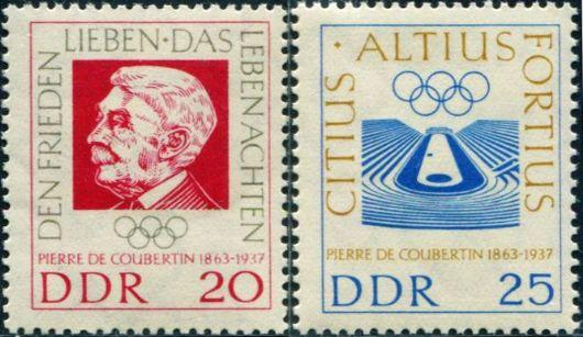 东德1963现代奥林匹克运动创始人顾拜旦 中邮