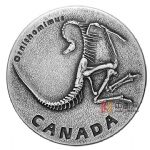 加拿大2017年史前加拿大(1)似鸟龙恐龙化石仿古银币
