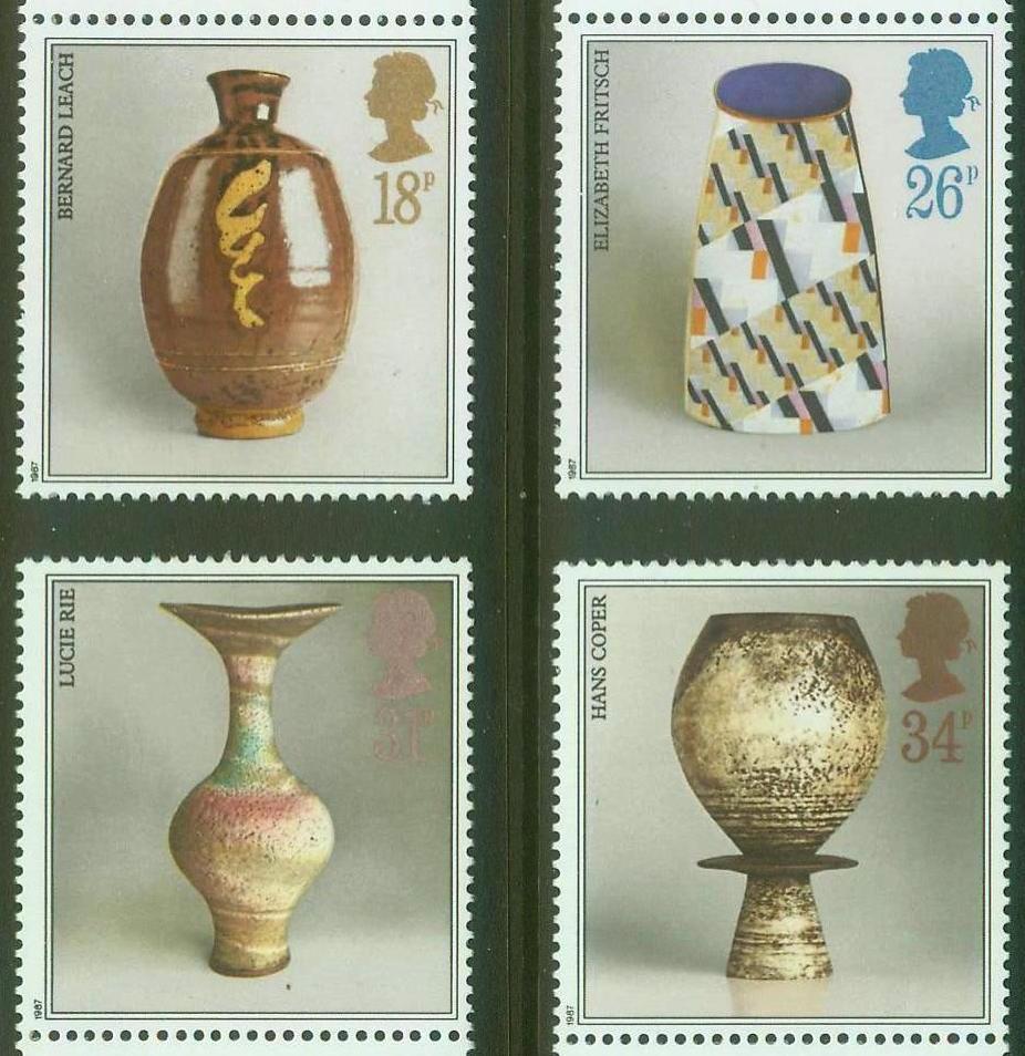 英国邮票1987年陶器4枚全 著名陶艺家作品 工艺品,瓶