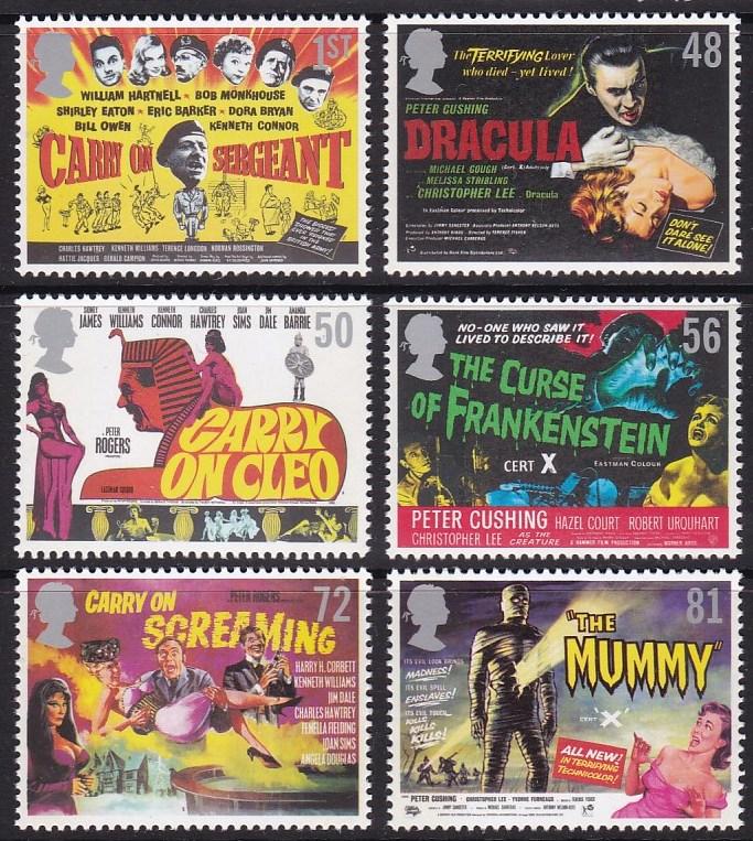英国邮票2008年喜剧惊悚电影海报6枚全 木乃伊,吸血鬼