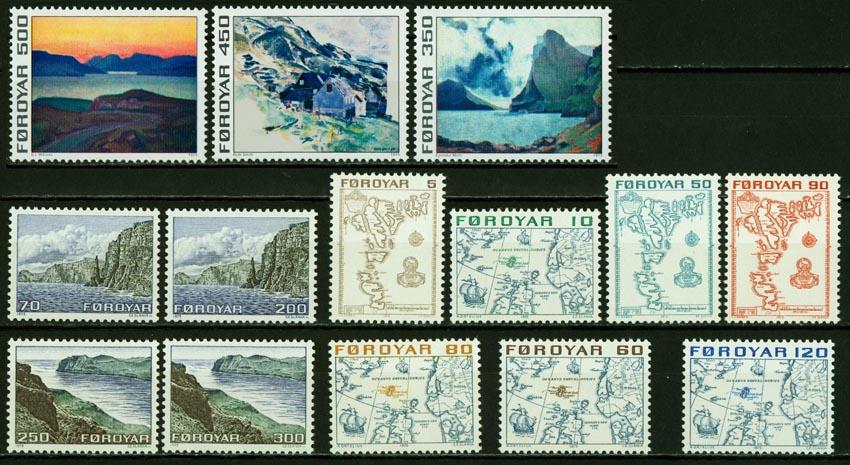 丹属法罗群岛 1975 风光 地图 油画 斯拉尼亚雕刻版(大图展示)