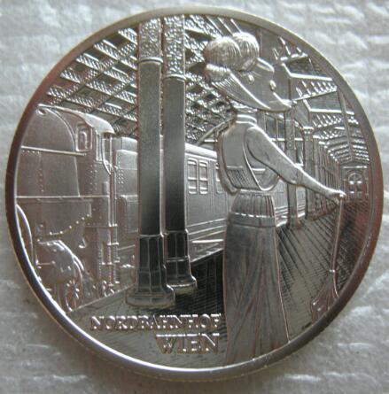 2008年奥地利20欧元精制火车系列纪念银币-维也纳北站图片