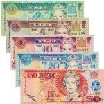 斐济纸币5张一套