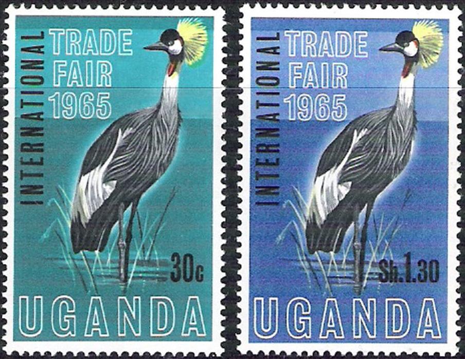 法乌干达 1965 国际公平贸易年 冕鹤鸟类(大图展示)