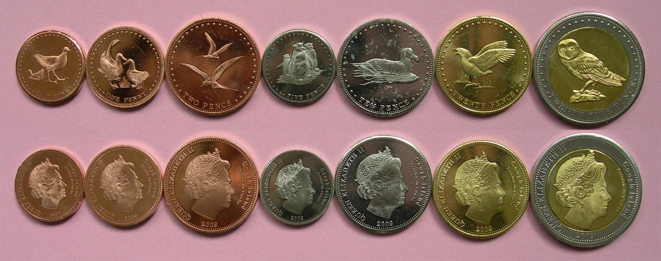 高夫岛套币7枚 材质 :4铜 2镍 1双金属(大图展示)