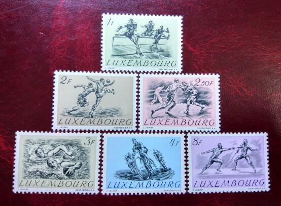 卢森堡 体育运动 足球 篮球 击剑 1952年 邮票(大图展示)