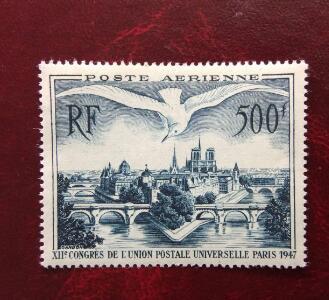 法国 西岱岛 巴黎和鸥 航空票1全 全品 1948年 邮票(大图展示)