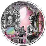 贝宁2014年1盎司莎士比亚罗密欧朱丽叶纳米芯片镶嵌彩色仿古银币
