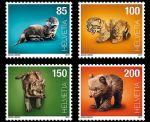 瑞士邮票2017年 动物幼崽 新4全