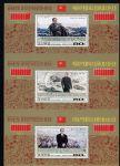 朝鲜发行毛泽东 邓小平 江泽民三代人邮票  连体小全张
