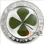 帕劳2012年幸运四叶草实物镶嵌精制银币