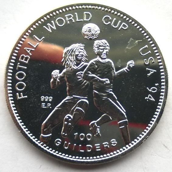 苏里南1994年意大利世界杯100古德精制1盎司
