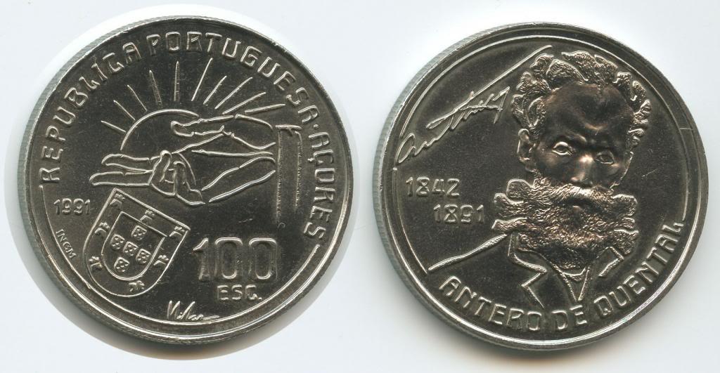 葡萄牙1991年100埃斯库多纪念币--安特罗德肯塔尔(大图展示)