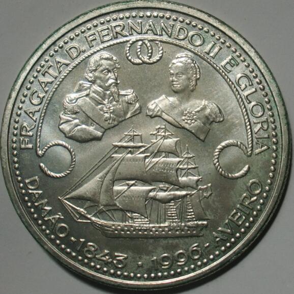 葡萄牙1996年1000埃斯库多 克朗型大银币(大图展示)