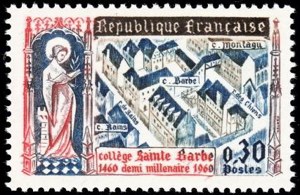 法国邮票1960年 巴黎圣巴尔勃大学500周年 雕塑 建筑(大图展示)