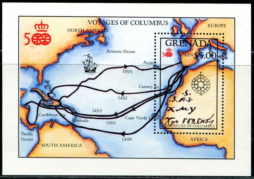 格林纳达 1992 哥伦布 航海 地图 小型张 中邮网
