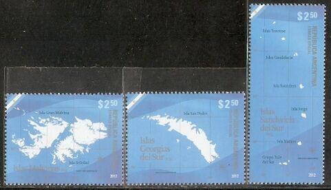 2012阿根廷邮票,福克兰群岛 马岛 地图 ,3全