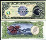 WGZB2897 2000年查塔姆-群�u第二版�S金�撕�2元塑料�n��牛�Chatham Islands 大洋洲)